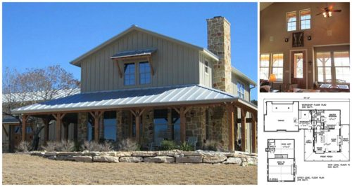 Lovely metal building ranch home with a wrap around porch for Metal building house with wrap around porch