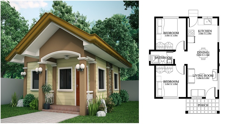 cute tiny house design with house plan