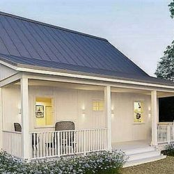 A Small Metal House Cottage with an Open Front Porch (with Plans)