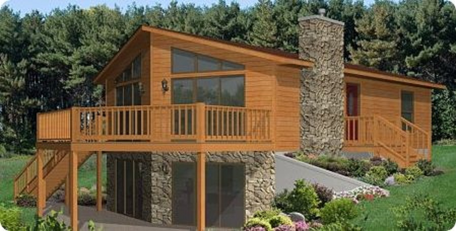 Modular Lake Home with a Rustic Cabin Look