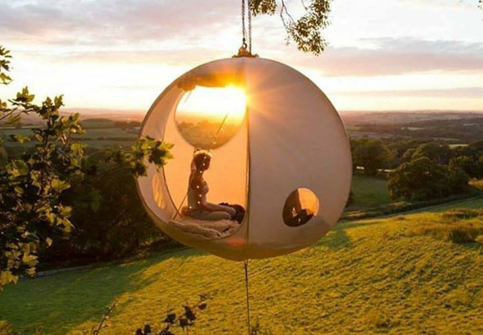 Would you camp out in a hanging orb tent?