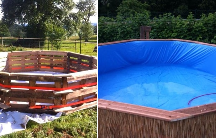 Swimmin Pool made out of 10 Pallets! DIY