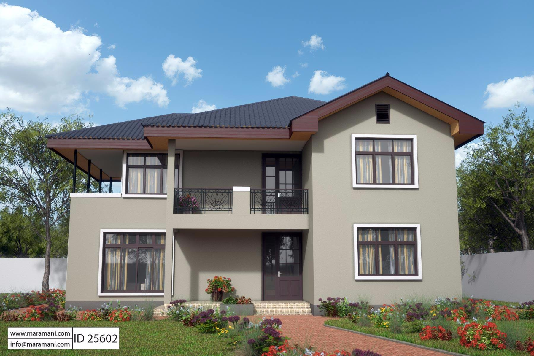 Compact 5 bedroom house design All rooms are self contained