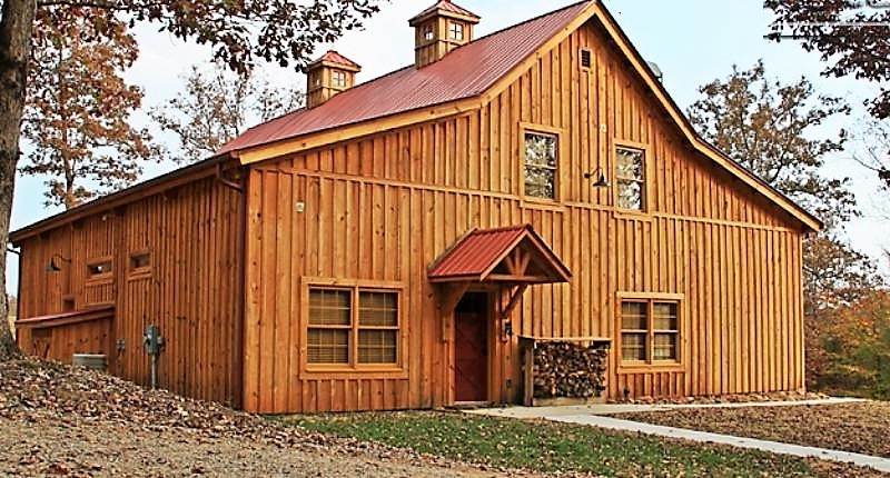 24x50 Ponderosa Country Barn Home With An Open Porch 12 Ft Lean Tos And