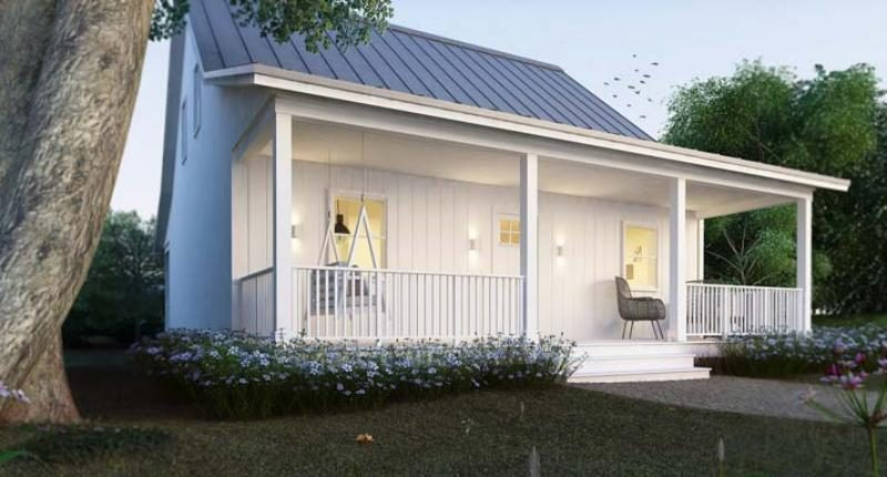 Small Metal House Cottage with Open Front Porch (with Plans)