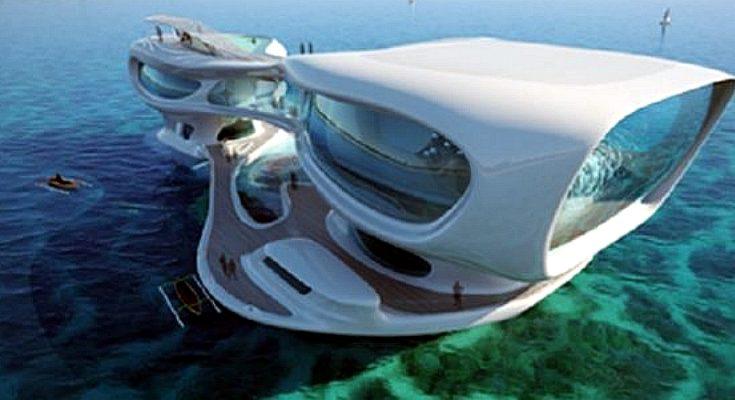 A floating modern mansion