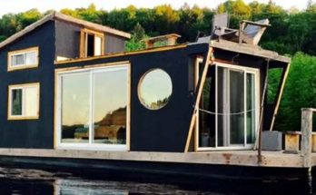 This is a tiny houseboat, but has everything!